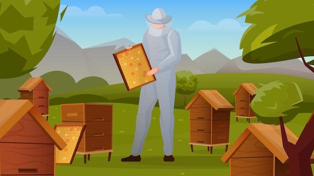 Colmenar de abejas en composición plana horizontal del paisaje rural con marco de sujeción de apicultor con panales