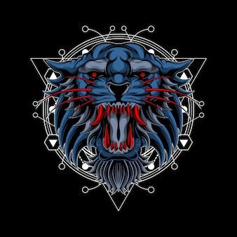 Colmillos rojos tigre geometría sagrada