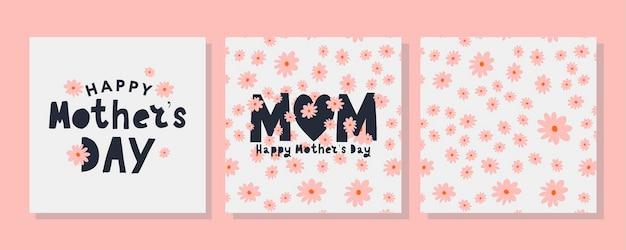 Coloca tarjetas para el feliz día de la madre. caligrafía y rotulación. patrón de flores