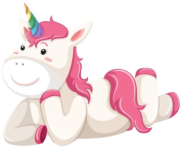 Colocación feliz unicornio rosa
