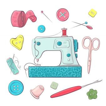 Colocar los accesorios de costura de la máquina de coser.