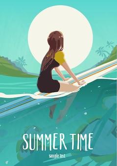 Colocar chica activa en bikini en la tabla de surf. cartel de horario de verano