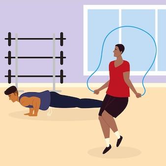 Colocar hombres haciendo ejercicio en un gimnasio