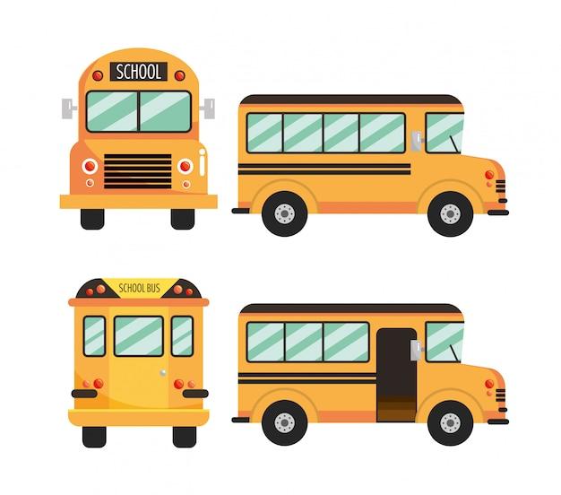 Colocar el vehículo educativo del autobús escolar.
