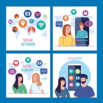 Coloque carteles de redes sociales, personas conectadas digitalmente, interactivas, de comunicación y concepto global.