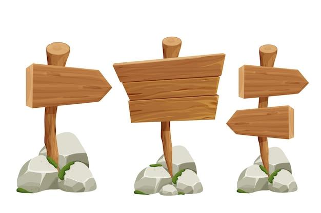 Coloque letreros de puntero de madera con pila de rocas y musgo en estilo de dibujos animados