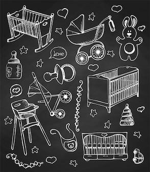 Coloque los muebles de los niños dibujados a mano en una pizarra. boceto diferente para cunas y cochecitos de niño.