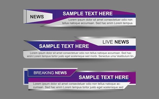 Coloque pancartas y tercios inferiores para el canal de noticias con color morado y blanco