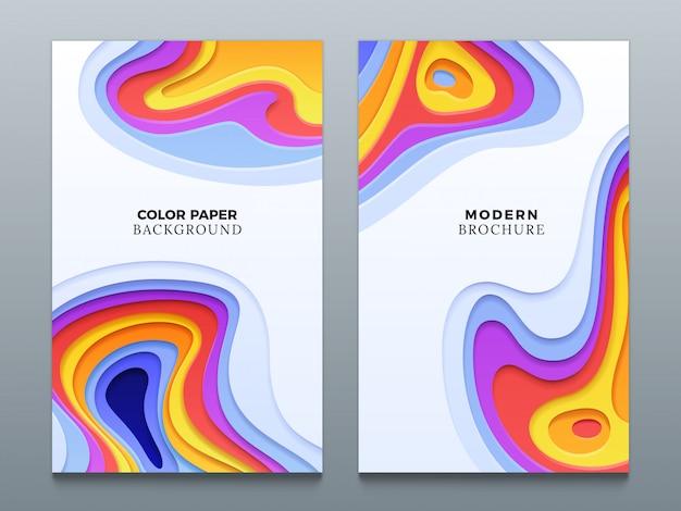 Color abstracto papel de corte negocios origami fondos con agujeros curvos 3d