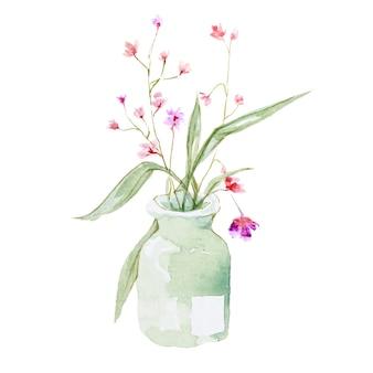 Color de agua de flor en maceta en blanco.