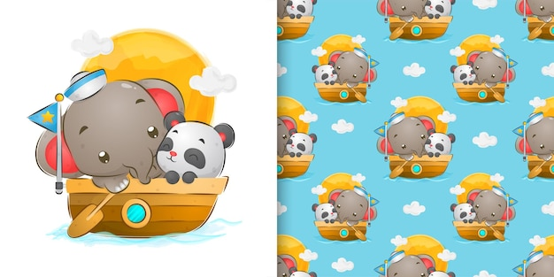 Color de agua transparente de elefante marinero navegando con linda ilustración de panda