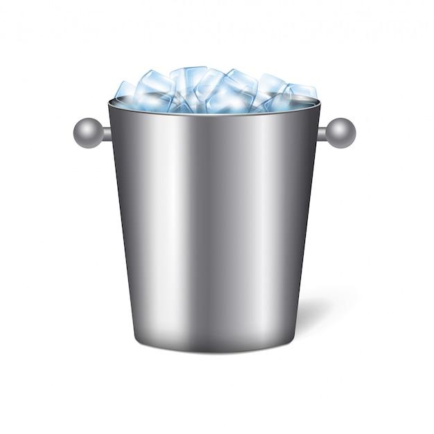 Color aislado realista cubo de champán composición de hielo cubo de metal con ilustración de asas redondas