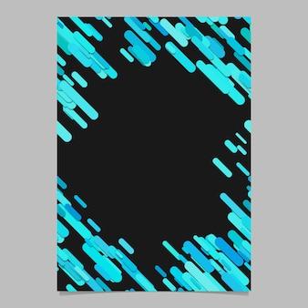 Color al azar diagonal redondeado patrón de franja plantilla de folleto - de moda en blanco documento vectorial, papelería ilustración de fondo con rayas en tonos cian