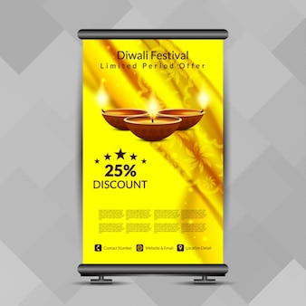 El color amarillo festival de diwali enrollar diseño de la bandera