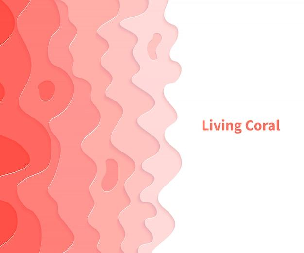 Color del año 2019. coral vivo. talla de arte de corte de papel.