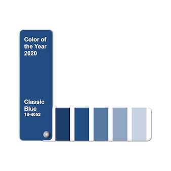 Color del año 2020, azul clásico, muestra de paleta de colores de tendencia, guía de muestra de libros con espacio de copia