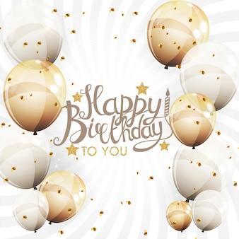 Color brillante feliz cumpleaños globos banner fondo ilustración vectorial eps10