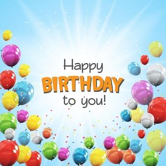 Color brillante feliz cumpleaños con globos sobre fondo bandera ilustración