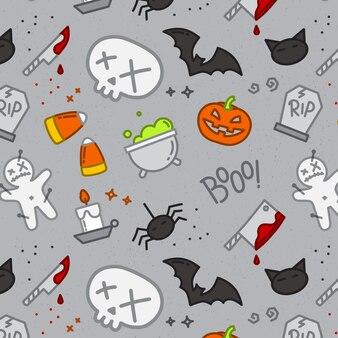 Color de calavera de patrón plano de halloween