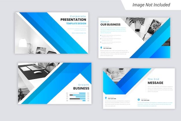 Color cian y azul degradado presentación de negocios corporativos diseño de diapositivas