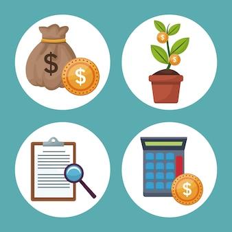 Color de fondo iconos crecimiento economía en marcos circulares