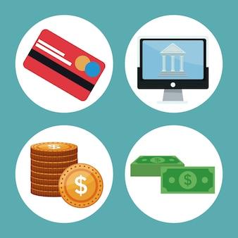 Color de iconos de fondo economía de inversión en marcos circulares