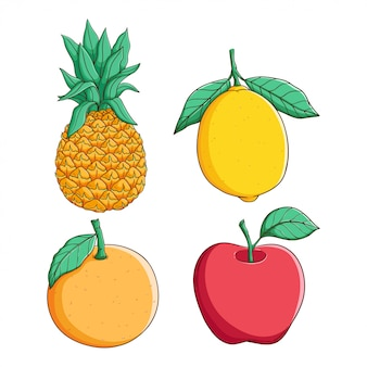 Color dibujado a mano piña, limón, naranja y manzana sobre fondo blanco.