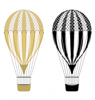 Color de dibujos animados y globos de aire blanco y negro. globos aerostáticos. aerostato aislado. transporte de vuelo de aerostato, globo aerostático, ilustración de viaje en globo