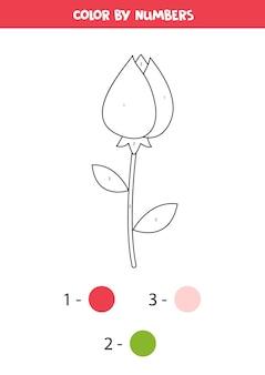 Color de dibujos animados lindo san valentín rosa por números