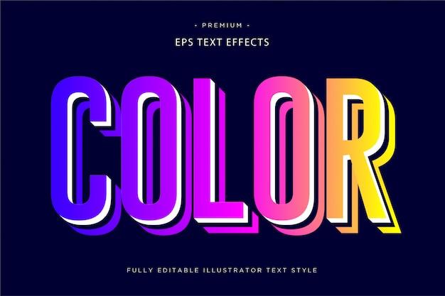 Color efecto de texto en 3d estilo de texto en 3d