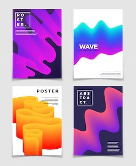 Color fluido de formas dinámicas. cool conjunto de fondos abstractos