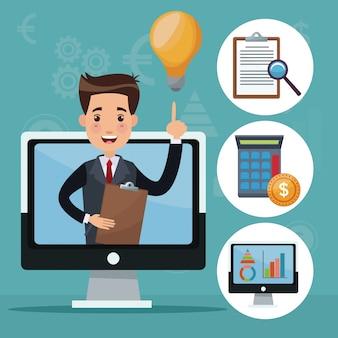 Color fondo análisis inversión iconos y pantalla de la computadora con el empresario