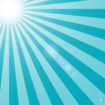 Color de fondo azul del sol y rayos con resplandor
