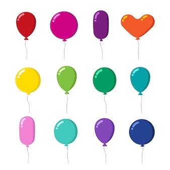 Color goma volando globos de dibujos animados con conjunto de cuerdas aislado en blanco