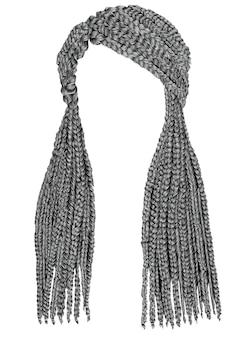 Color gris trenzas de pelo largo de moda. estilo de belleza de moda.