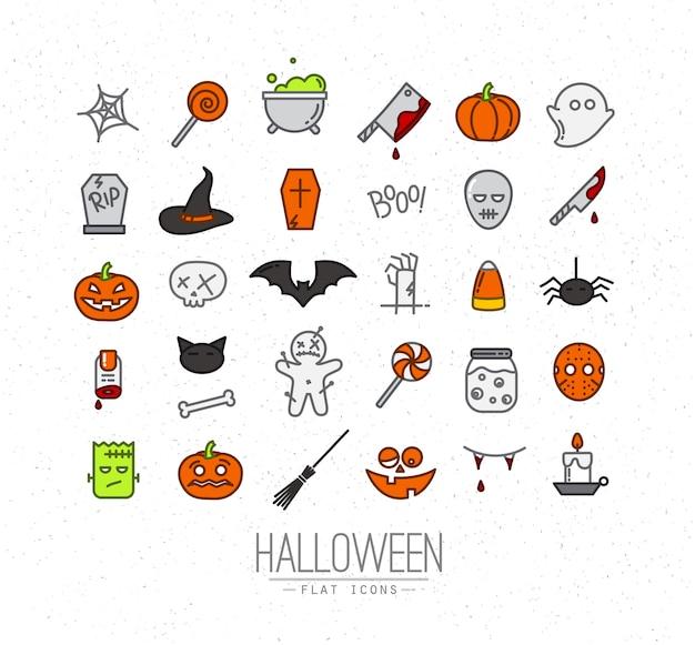 Color de iconos planos de halloween