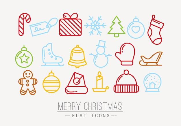 Color de iconos planos de navidad