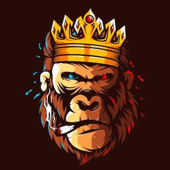 Color de ilustración de cabeza de rey gorila