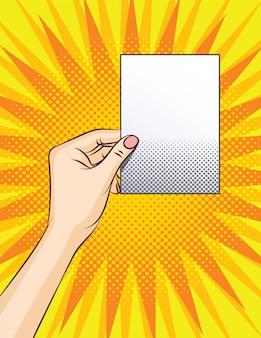 Color ilustración de estilo pop art. hoja blanca en blanco con lugar para texto