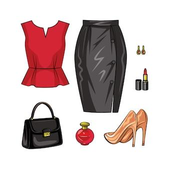 Color ilustración realista de objetos femeninos en el look de la noche. un conjunto de moda elegante de ropa de mujer y accesorios aislados