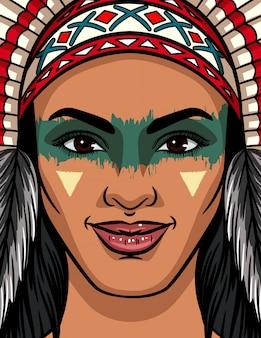 Color ilustración vectorial de una cara de mujer de una tribu india. maquillaje facial brillante y tocado tradicional en una mujer india.