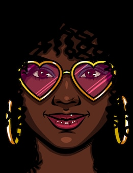 Color ilustración vectorial de una mujer afroamericana en gafas de color rosa. feliz mujer enamorada. rostro de una bella mujer con maquillaje y cabello rizado. mujer con aretes redondos de oro y gafas en forma de corazón
