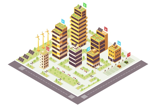 Color isométrico de la ciudad ecológica. infografía de edificios comerciales. producción de energías renovables. concepto 3d de ciudad inteligente. medio ambiente ecológico y sostenible. elemento de diseño aislado