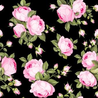 Color de lujo rosas sin patrón.