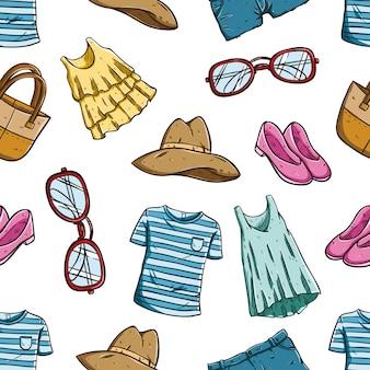 Color mano dibujado ropa de mujer y accesorios en patrones sin fisuras