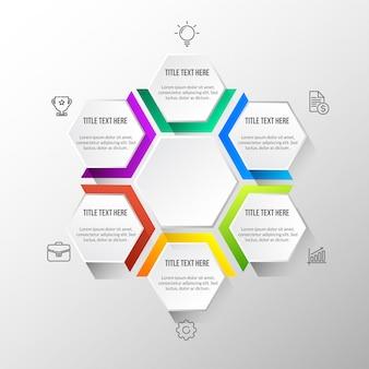 Color moderna infografía con mesa 3d.