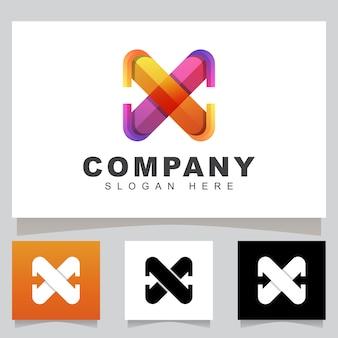 Color moderno letra x con logotipo de empresa de flecha, plantilla de diseño de logotipo logístico inicial rápido