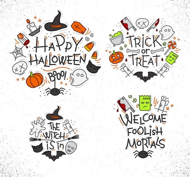 Color de monogramas planos de halloween