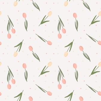 Color pastel dulce flor de patrones sin fisuras. concepto de tulipán encantador.