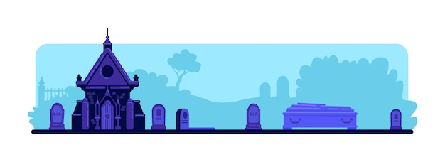 Color plano del cementerio. lápidas y antiguo edificio de la cripta. ataúd para ceremonia de entierro. paisaje de dibujos animados 2d de cementerio espeluznante con lápidas y árboles en el fondo